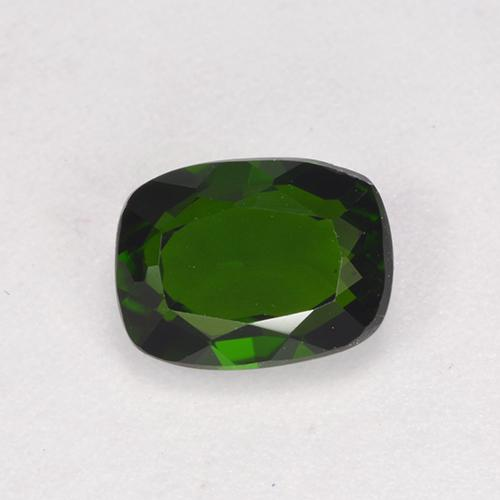 Deep Green Chrome Diopside Gem - 1.4ct Cushion-Cut (ID: 524607)