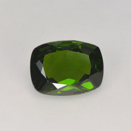 1.3ct Cushion-Cut Dark Green Chrome Diopside Gem (ID: 524634)