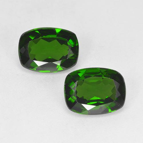 Forest Green Chrome Diopside Gem - 1.3ct Cushion-Cut (ID: 525254)
