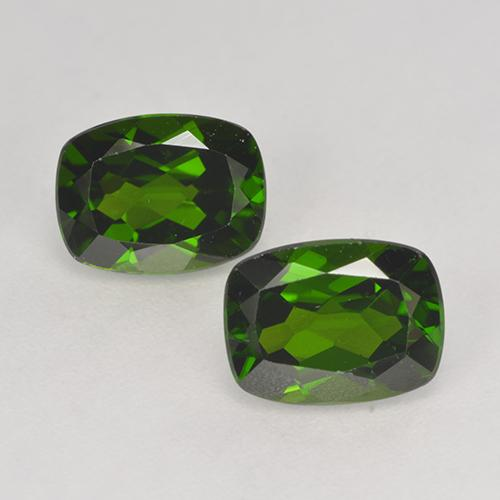 1.6ct Cushion-Cut Dark Green Chrome Diopside Gem (ID: 525255)