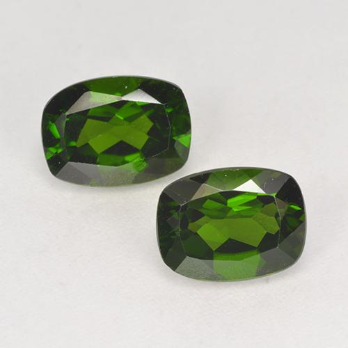 Dark Green Chrome Diopside Gem - 1.5ct Cushion-Cut (ID: 525256)