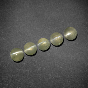 0.5ct Round Cabochon Golden Green Chrysoberyl Cat's Eye Gem (ID: 294837)