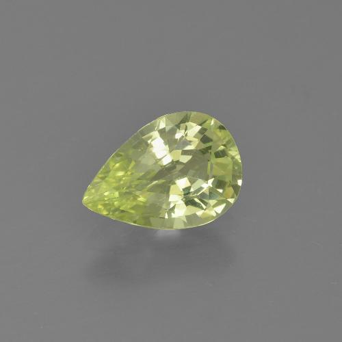 Golden Green Chrysoberyl Gem - 1.3ct Pear Facet (ID: 366492)