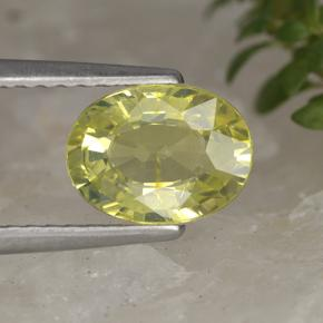 1.4ct Oval Facet Greenish Yellow Chrysoberyl Gem (ID: 496742)