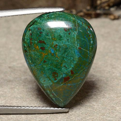 Multicolor Chrysocolla Gem - 17.7ct Pear Cabochon (ID: 486554)