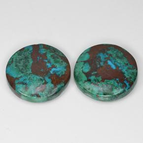 Multicolor Chrysocolla Gem - 9.2ct Round Cabochon (ID: 503171)