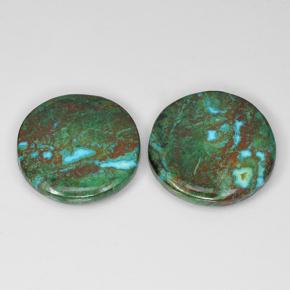 Multicolor Chrysocolla Gem - 6.6ct Round Cabochon (ID: 503172)