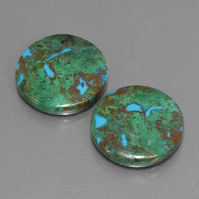 Multicolor Chrysocolla Gem - 10.5ct Round Cabochon (ID: 503181)