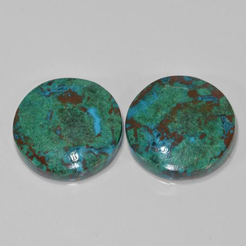 Multicolor Chrysocolla Gem - 12.3ct Round Cabochon (ID: 503187)