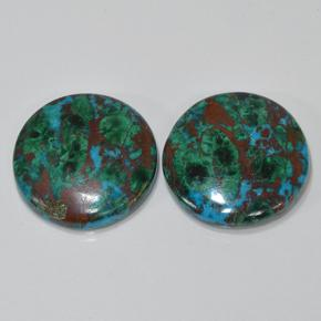 Multicolor Chrysocolla Gem - 10.1ct Round Cabochon (ID: 503190)