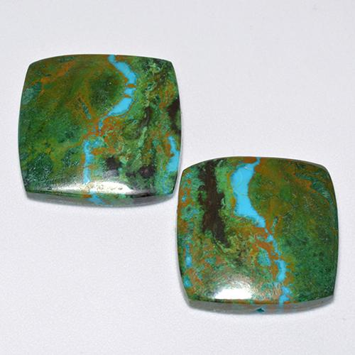 Multicolor Chrysocolla Gem - 10ct Cushion Cabochon (ID: 515573)