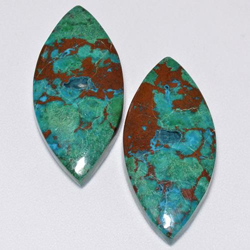 Multicolor Chrysocolla Gem - 7.3ct Marquise Cabochon (ID: 515574)