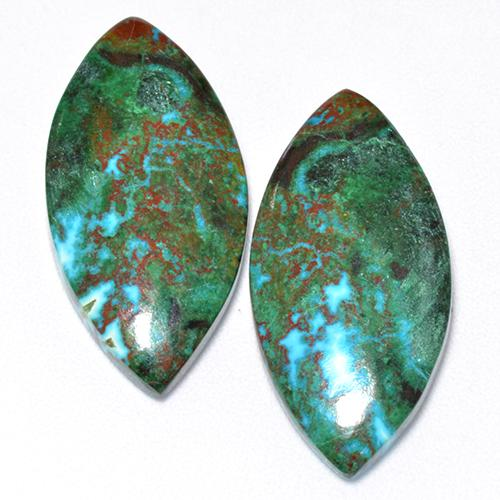 Multicolor Chrysocolla Gem - 8.3ct Marquise Cabochon (ID: 515575)