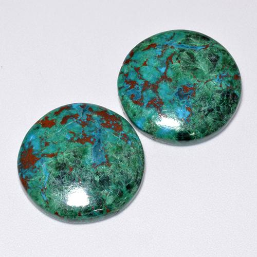 Multicolor Chrysocolla Gem - 9.2ct Round Cabochon (ID: 515576)
