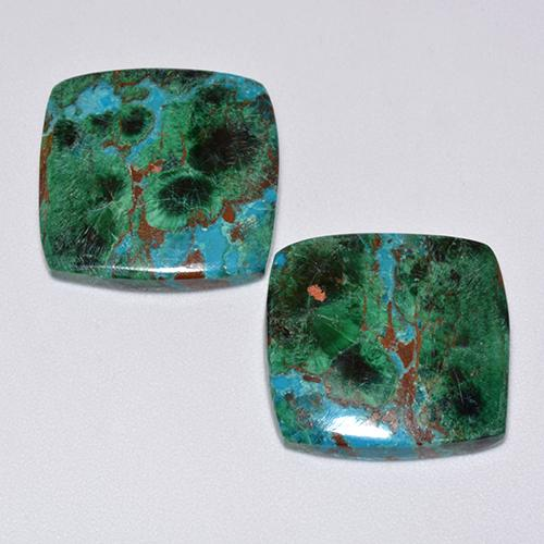 Multicolor Chrysocolla Gem - 9.5ct Cushion Cabochon (ID: 515579)