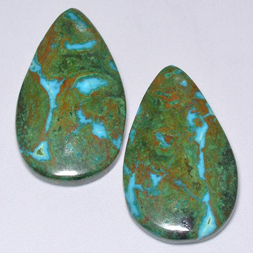 Multicolor Chrysocolla Gem - 11.9ct Pear Cabochon (ID: 515938)