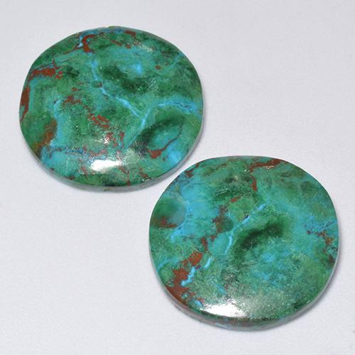 Multicolor Chrysocolla Gem - 9.3ct Round Cabochon (ID: 515944)