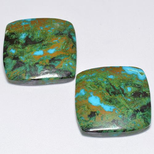 Multicolor Chrysocolla Gem - 11.8ct Cushion Cabochon (ID: 515947)