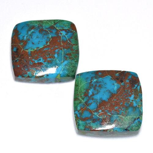 Multicolor Chrysocolla Gem - 6.5ct Cushion Cabochon (ID: 516451)