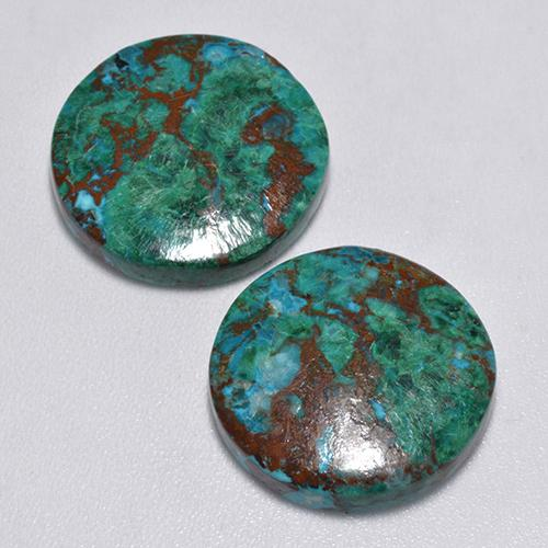 Multicolor Chrysocolla Gem - 7.5ct Round Cabochon (ID: 517267)