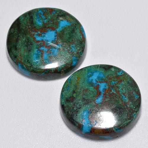 Multicolor Chrysocolla Gem - 8.5ct Round Cabochon (ID: 517270)