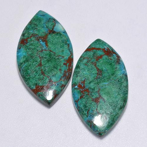 Multicolor Chrysocolla Gem - 8.8ct Marquise Cabochon (ID: 517271)