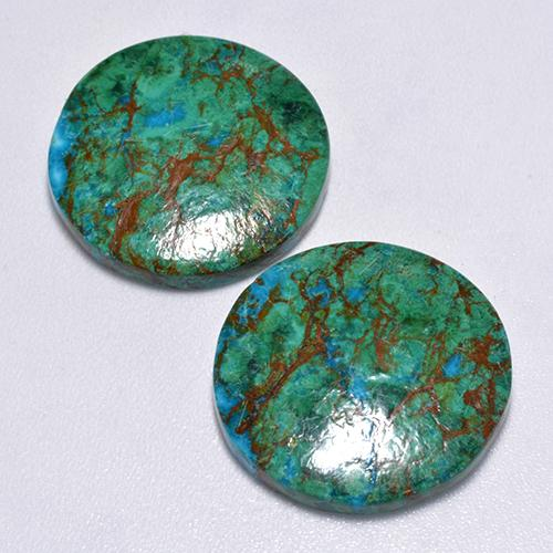 Multicolor Chrysocolla Gem - 9.2ct Round Cabochon (ID: 517272)
