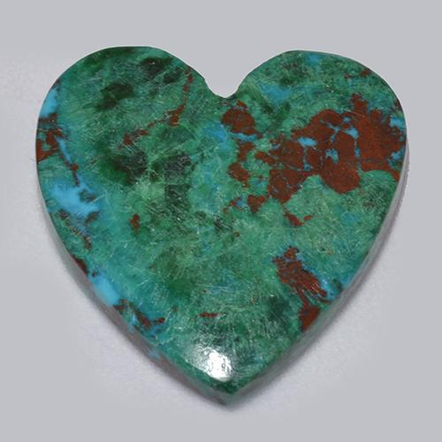 Multicolor Chrysocolla Gem - 6.3ct Heart Cabochon (ID: 517281)