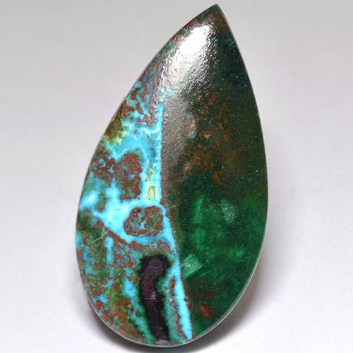 Multicolor Chrysocolla Gem - 9.2ct Pear Cabochon (ID: 517750)