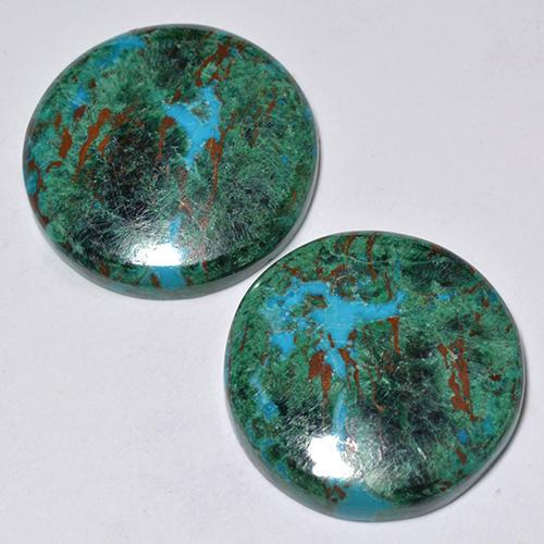 Multicolor Chrysocolla Gem - 11.7ct Round Cabochon (ID: 517758)