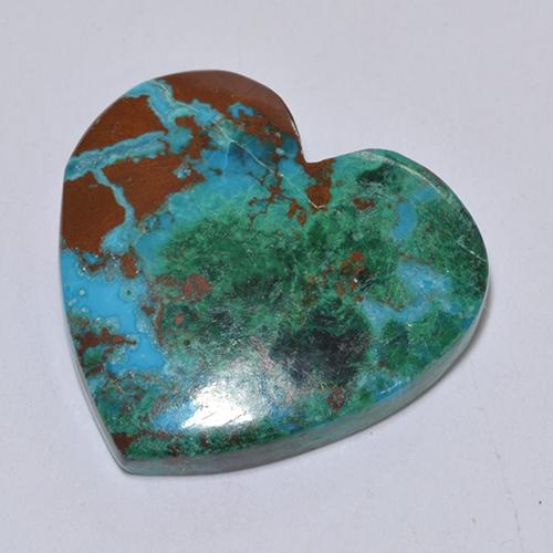 Multicolor Chrysocolla Gem - 9ct Heart Cabochon (ID: 518231)