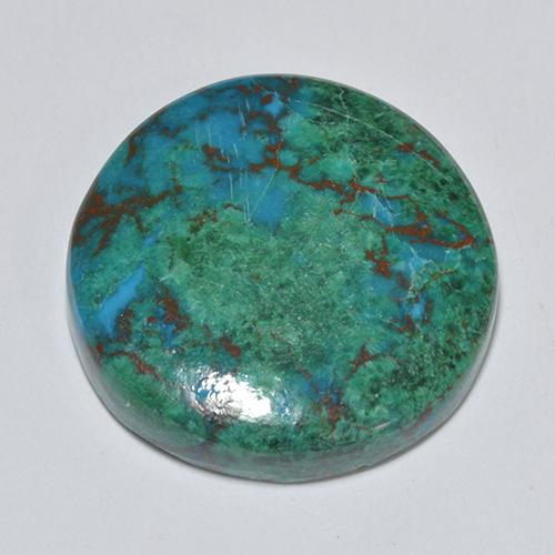 Multicolor Chrysocolla Gem - 10.5ct Round Cabochon (ID: 518241)