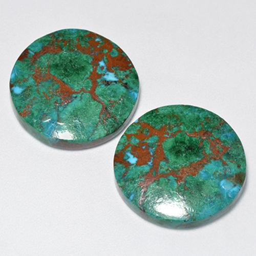 Multicolor Chrysocolla Gem - 9.1ct Round Cabochon (ID: 518564)
