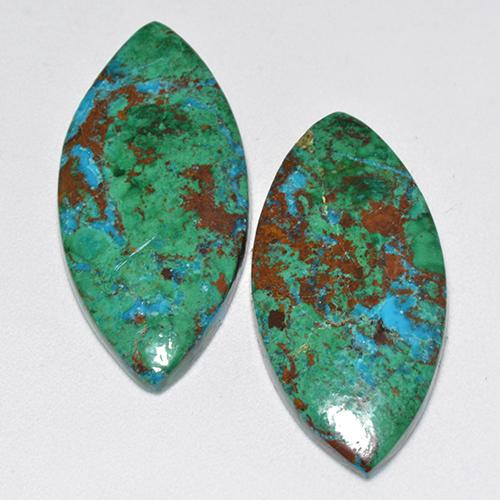 Multicolor Chrysocolla Gem - 9.7ct Marquise Cabochon (ID: 518567)