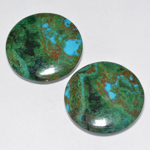 Multicolor Chrysocolla Gem - 9.5ct Round Cabochon (ID: 518568)