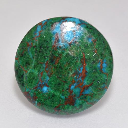 Multicolor Chrysocolla Gem - 9.1ct Round Cabochon (ID: 518868)