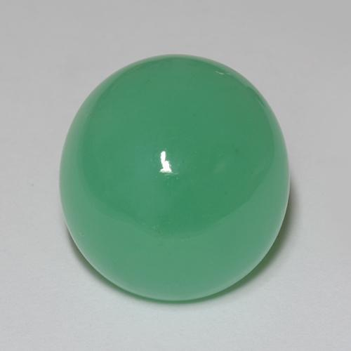 10.91 ct 椭圆形凸面型 Medium Green 绿玉髓 Gem 14.43 mm x 13.5 mm (Photo A)