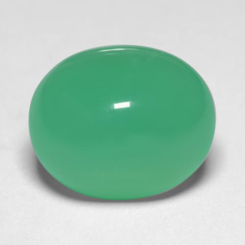 7.4ct Oval Cabochon Intense Mint Green Chrysoprase Gem (ID: 546922)