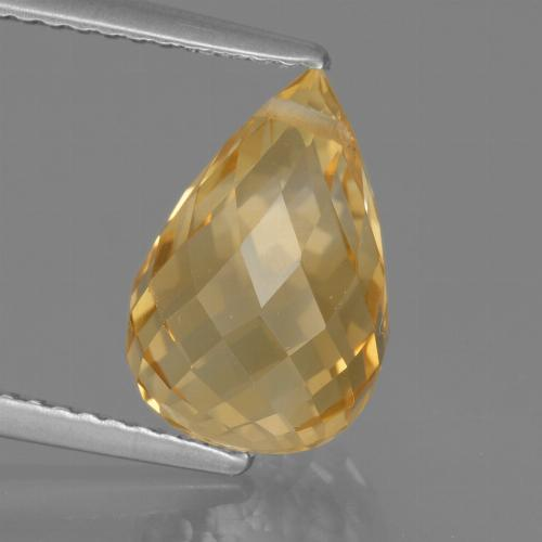 Yellow Golden Citrine Gem - 4.4ct Briolette with Hole (ID: 288954)