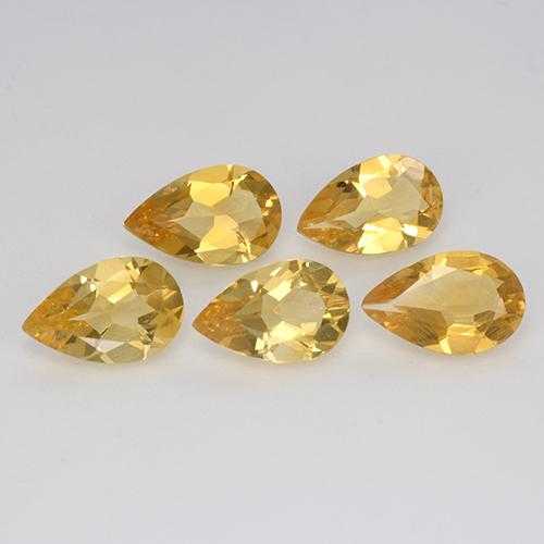Yellow Golden Citrine Gem - 0.6ct Pear Facet (ID: 312385)
