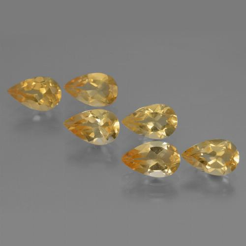 Medium Gold  Citrina Gema - 0.8ct Corte en forma de pera (ID: 316156)