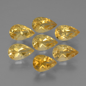 Yellow Golden Citrine Gem - 0.9ct Pear Facet (ID: 316159)