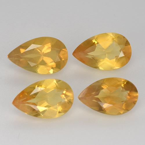 Yellow Golden Citrine Gem - 0.7ct Pear Facet (ID: 317784)