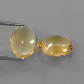 Yellow Golden Citrine Gem - 3ct Oval Cabochon (ID: 321890)