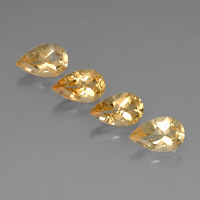 Yellow Golden Citrine Gem - 0.9ct Pear Facet (ID: 323816)