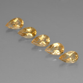 Yellow Golden Citrine Gem - 0.8ct Pear Facet (ID: 323821)
