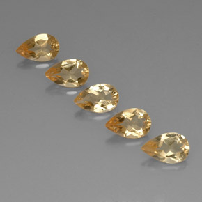 Yellow Golden Citrine Gem - 0.7ct Pear Facet (ID: 323822)