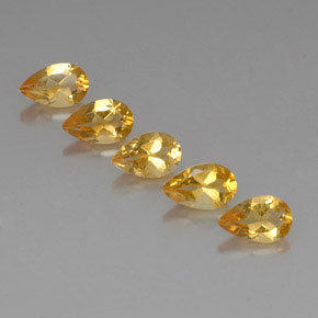Yellow Golden Citrine Gem - 0.8ct Pear Facet (ID: 324057)