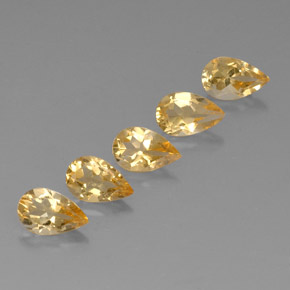 Yellow Golden Citrine Gem - 0.8ct Pear Facet (ID: 324120)