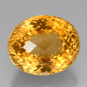 45.30 ct Oval Checkerboard Yellow Golden Citrine Gemstone 23.97 mm x 19.7 mm (Product ID: 327918)